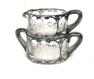 Vintage Sugar & Creamer Set Glass with Sterling Silver Overlay Etched Flower