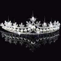 Bridal Princess Rhinestone Pearl Crystal Tiara Headband Hair Crown Veil Wedding