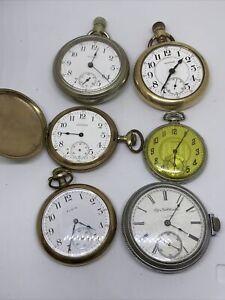 Lot of 6 Antique Pocket Watches Elgin Waltham Railroad PARTS REPAIR