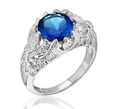 Edwardian Era Inspired Sterling Silver 3.20ct TW Blue and White CZ Ring Size 7