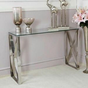 Silver Stainless Steel Console Table Clear Glass Hall Display Modern Cross Home