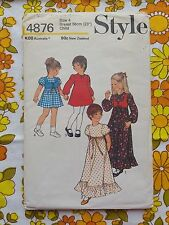 STYLE 4876 sewing pattern CHECKED / COMPLETE 1975 vintage retro CHILD 4