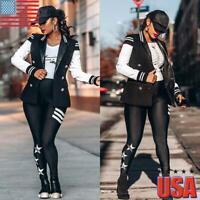 Women Slim Baseball Jacket Bomber Coats Ladies Long Sleeve Casual Blazer Outwear
