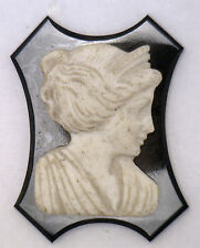 NOS New Antique Large Black & White Cameo Stone Facing Right 34mm x 25mm #UT4