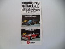advertising Pubblicità 1977 BBURAGO TYRRELL/FERRARI 312 T2