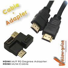 Cable and Adapter Pack - Right Angle HDMI 90 M/F Degree Adaptor + 3FT HDMI Cable