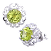 .925 Sterling Silver Round Peridot Flower Stud Earrings