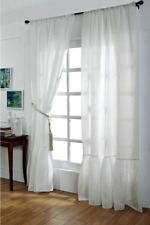 Pure Luxury Belgian Linen Cotton Curtain Drape Panel White Ruffle Pleat Hem 96""