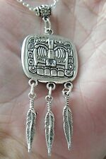 "AZTEC MAYAN GOD NECKLACE Tibet Silver 3 Silver Feathers 24"" Silver Chain NEW!"