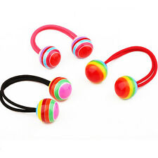 Striped Ball Elastic Rope Hair Ties Ponytail Holder Head Band Hairbands FO