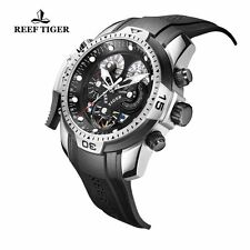 Reef Tiger Mens Sport Watch Complicated Dial Black Rubber Steel Automatic Watch