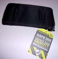 "Travelon RFID Blocking Wallet Clutch Black Nylon Anti-Theft 8""x4"""