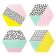 Sass & Belle Memphis Modern Coasters Hexagon Patterned Bright Dolomite Set Of 4