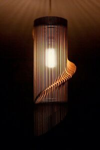 Wave Style Pendant Ceiling Light Shade KIT Made From Birch Wood, 29cm Tall
