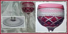 CRANBERRY PINK Goblet Hock Wine Glass CUT TO CLEAR CRYSTAL Beyer Bavaria Germany