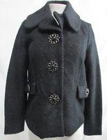 JouJou Junior's Wool Blend Black Jeweled Lined Coat Size S
