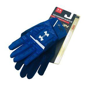 UNDER ARMOUR UA Harper Hustle Baseball Batting Gloves Youth Size YMD / Blue