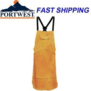 Portwest SW10 Leather Welding Apron Cover Welders Protection Golden Brown Safety