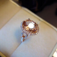 Solid 18K Rose Gold Finish 3.60 Ct Oval Brilliant Morganite Halo Engagement Ring