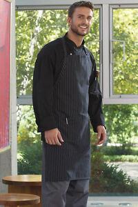 Vtex 3018-3300 Adjustable Butcher Apron, Black & White Pinstripe