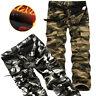 2018 Winter Warm Mens Combat Work Pants Fleece Camo Military Army Cargo Trousers
