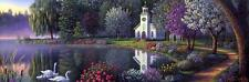 "Kim Norlien Sanctuary Swan Lake Flowers Art Print  14.5"" x 5"""