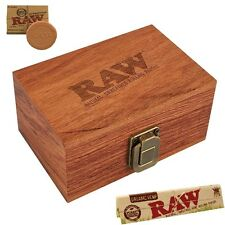 RAW Maple Wood Rolling Paper Storage Box w Magnetic Stash Box & Hydrostone