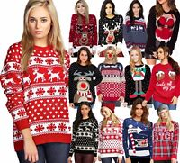 Ladies Unisex Mens Novelty Retro Knitted Rudolph Reindeer Christmas Xmas Jumpers