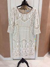 Antonio Melani Beige W/Ivory Lace 3/4 Sleeve Dress, Size 12