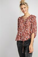 Easel Floral Print Lace-Up V-Neck Bubble Sleeve Top Size Small Medium