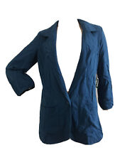 TEAL BLUE 100% COTTON BOYFRIEND STYLE BLAZER JACKET UK 10 EU 38 US 6 SMALL BNWT