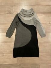 NEW H&M Gray Abstract Knit Pullover Stretch Sweater Jumper Dress Tunic Sz S