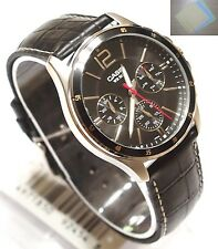 Casio MTP-1374L-1 Analog Dress Mens Genuine Leather Band Black Watch + Gift