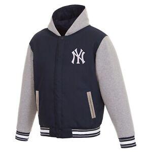 MLB  New York Yankees  JH Design Two Tone Reversible Fleece Hooded Jacket