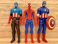 Marvel Avengers Figures 2 x Titan Hero Captain America 2014 & Spiderman 12 Inch