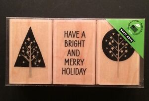 """Hero Arts """"Merry Holiday"""" Wood Mounted Rubber Stamp Set"""