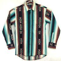 Vintage Wrangler Shirt Size S Aztec Print 80s 90's Pearl Snap Long Sleeve Retro