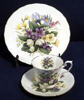 Elizabethan China Flowers of the Seasons Tea Trio Set Cup + Saucer Cake Plate