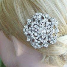 Elegant Clear Rhinestone Crystal Flower Rose Bridal Hair Comb Headpiece 03809C1