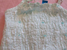 Girls Mint Green Cotton Sequin Sleeveless Stretch Crinkle Crop Top - 8 years