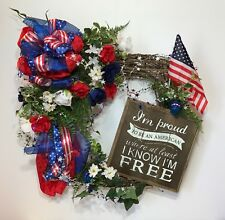 4TH OF JULY SQUARE GRAPEVINE WREATH PATRIOTIC AMERICAN FLAG RIBBONS WOOD SIGN