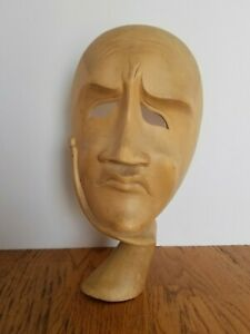 Vintage The Thinker Hand Carved Wood Sculpture Face Whimsical Mid Century Modern