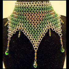 "Handmade 4-in-1 Green ""Elven Lace"" Choker, ""Slave"" Bracelet, and Earring Set"