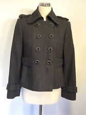 JOHN ROCHA GREY WOOL BLEND DOUBLE BREASTED JACKET SIZE 12 PETITE