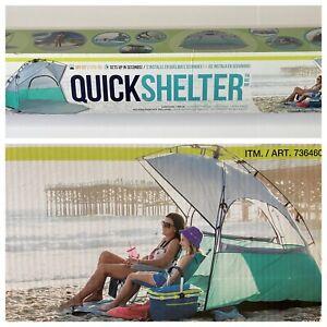 Lightspeed Quick Shelter Cabana Beach Tent UPF 50+ Easy Set Up ~ Teal/Gray