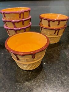 Living Art Ice Cream Cups Ceramic 12cm Long 8cm High set of 6 Pink Purple
