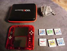 Nintendo 2DS Rot englisch + tasche ladekabel und 6 spielen mario bros 2 pokemon
