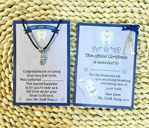 First Lost Tooth pendant and Tooth Fairy Blue award certificate set