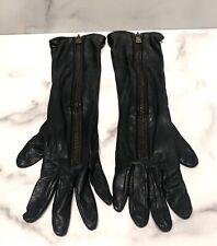 Yves Saint Laurent YSL Long Black Leather Zipper Women's Gloves