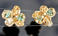 HARVEST REPAIR AS I Victorian revival Pansy gold tone screw back EARRINGS 1940's
